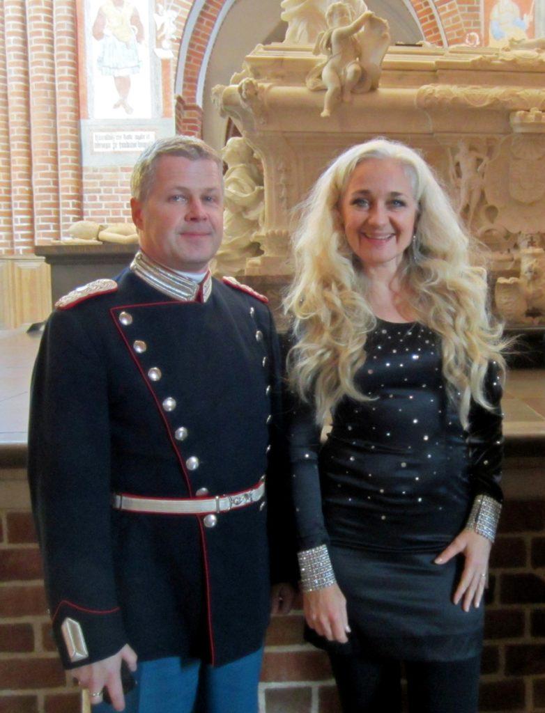 Cæcilie Nordby sammen med trompetist og arrangør Stig Sønderriis. Fra koncert 2011 i Roskilde Domkirke. Foto KKB.