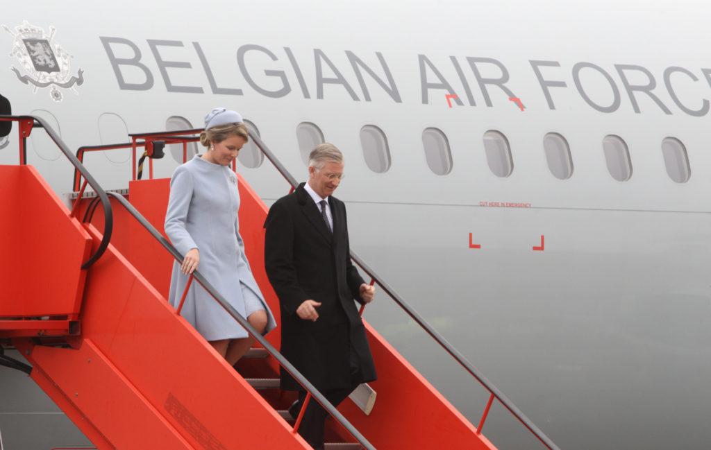 Kong Philippe og dronning Mathildes ankomst